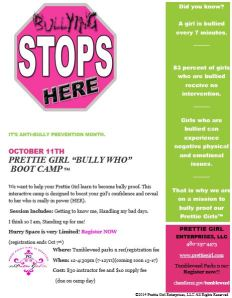 Prettie Girl bully camp flyer
